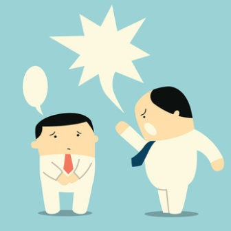 Angry boss or manager yelling at his worker or employee. You can change or write your own design or text in speech bubbles.