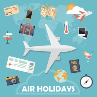 Flat design icons, air holidays background