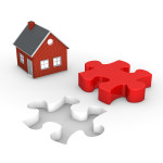 Puzzle hole with red puzzle piece and house on the white.